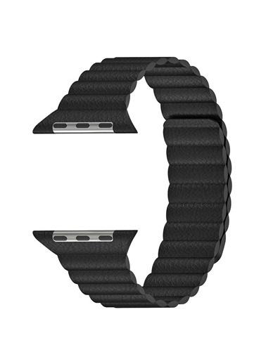 Microsonic Apple Watch SE 40mm Twist Leather Loop Kordon Siyah
